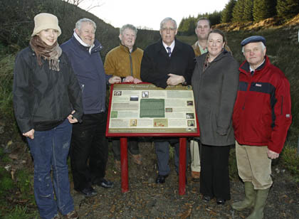 Tony Kileen, centre, minister of sate for forestry who officially launched the Source of the Blackwater Loop Walk in Ballydesmond. Included are from left, Isabel Wilkoswska, manager, Coillte Forestry; Jack Roche, IRD Duhallow board; Michael Doyle, IRD Duhallow board; Bernard Dunne, Coillte, district manager; Maura Walsh, manager, IRD Duhallow and Jim Ryan, former Coillte manager. Photo by Patrick Casey